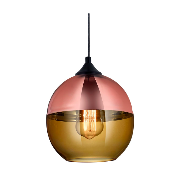 lamparas cobre Lmpara Colgante De 1 Luz Canada De Vidrio Con Detalles En Cobre