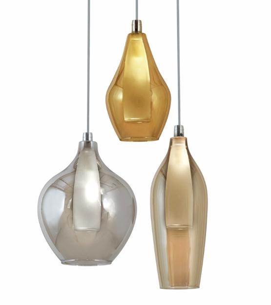 3 colgante luces de doble vidrio de Lámpara con Vara tulipa v8nwN0Om